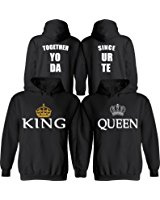couple hoodies king u0026 queen [personalized] together since [your date] - matching couple  hoodies bxyiree